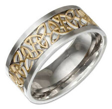 Unisex Stainless Steel Silver Band Ring W/ Gold Tone Celtic Trinity Knot Insert