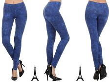 NEW LADIES TRENDY  SEXY COMFY SKINNY ACID WASH DENIM STRETCH LEGGINGS JEGGINGS