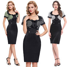 Vintage 50 60s Polka Dots Bodycon Evening Party Housewife Cocktail Wiggle Dress