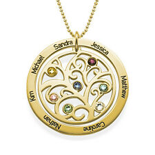 18k Gold Plated Family Tree Birthstone Necklace, Gift for Mom