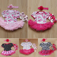Newborn Kids Baby Girl Headband + Romper Dress + Shoes Outfit Clothes Set 0-12M
