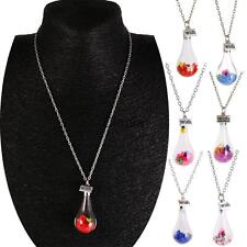 High Quality Wish Current Bottle Dry Flower Crystal Water Drop Chain Necklace