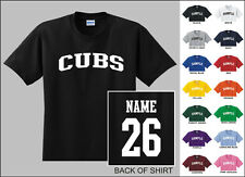 Cubs College Letters Custom Name & Number Personalized Baseball T-shirt