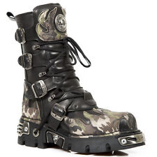 NEWROCK New Rock 591-S15 SILVER FLAME METALLIC BIKER BLACK Gothic LEATHER BOOT