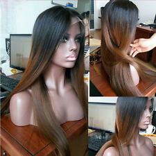 Ombre Brazilian Virgin Remy Human Hair Full/Front Lace Wigs Silk Straight