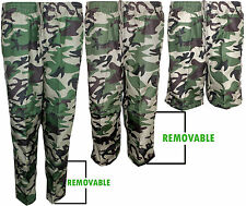 Mens Camouflage Army Cargo Combat Double Zip Off Trousers to 3/4 & shorts 3 in 1