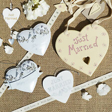 Hanging White Hearts Just Married Heart Wedding Decoration Vintage Style Gifts