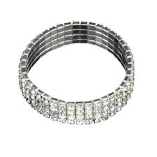 Bridal 1-5 Row Crystal Rhinestone Elastic Stretch Fashion Bracelet Jewelry Gift