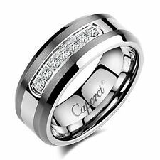 Caperci Men's 8mm CZ Tungsten Carbide Wedding Band Ring NEW