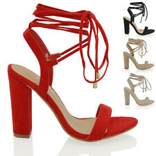 WOMENS LACE TIE UP ANKLE WRAP AROUND SANDALS LADIES STRAPPY BLOCK HEEL SHOES