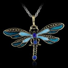 Fashion Bronze Dragonfly Crystal Enamel Pandent Sweater Chain Long Necklace Gift