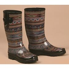 M&F Blazin Roxx LADIES BLACK/PURPLE/RED/BLUE AZTEC ROUND TOE RAIN BOOTS 58120