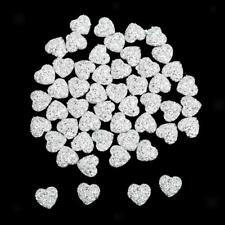50 12mm Resin Heart Cabochon Rhinestone Flatback Embellishment DIY Jewelry Craft