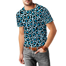 Leopard Print Bright Blue Mens Sport Mesh T-Shirt XS-3XL All-Over-Print