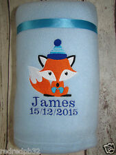 PERSONALISED BABY BLANKET FOX NEWBORN GIFT CHRISTENING EMBROIDERED WITH NAME