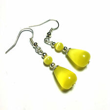 Yellow Cat Eye Glass Earrings Vintage Style Silver  Hook, Clip On or Studs