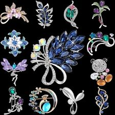 Flower Brooch Pin Women Fashion Wedding Rhinestone Crystal Bouquet Jewelry Gifts