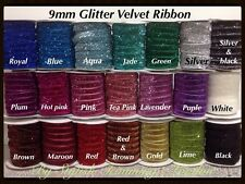 "3/8""10mm Sparkle Glitter Velvet Ribbon, Headband Clips Bow Decoration 🎀"
