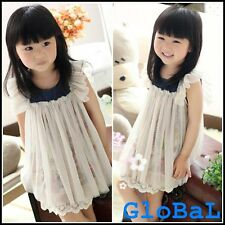 [SALE] Kid Girl Cute Princess Flower Lace One Piece Dress Clothes Outfit Age 3-5