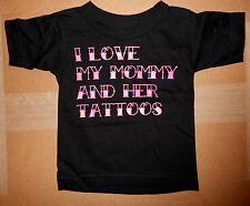I Love My Mommy and Her Tattoos Kids Black Funny T-shirt
