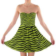 Zebra Print Bright Green Strapless Bra Top Dress  XS-3XL