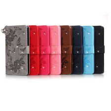 Embossed Butterfly Diamond Rope Wallet Stand Leather Case For Huawei iPhone LG