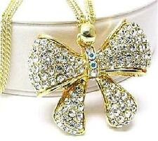 Long Pendant Necklaces Ribbon Bow Paved in Crystals Gold or Silver