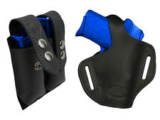 NEW Barsony Black Leather Pancake Holster+Dbl Mag Pouch Colt Comp 9mm 40