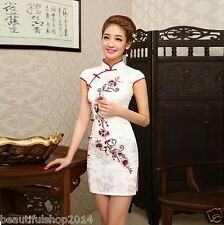 Elegant Chinese Style QiPao Ladie's Silk Evening Mini Dress Cheongsam Dresses
