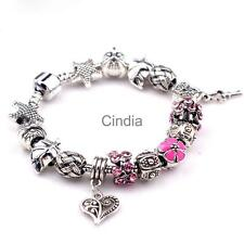 Fashion European Beads Rhinestone Women Bracelet with Heart Beads