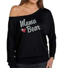 Mother's Day Silver Glitter Mom's Mama Bear Long Sleeve off the Shoulder Shirt