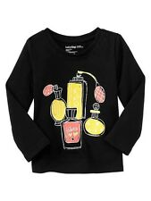 NWT BABY GAP Girls Bright Blooms Black Jadore XO Perfume Graphic Shirt 12-24 NEW