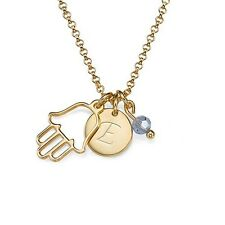 Hamsa Necklace with Initial Pendant and Birthstone - 18k Yellow Gold Plated