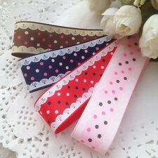 Polka Dots with Lace Print Grosgrain Ribbon 100yds/roll 9mm 16mm 25mm 38mm