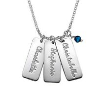 Sterling Silver Engraved Tag Necklace with Birthstones
