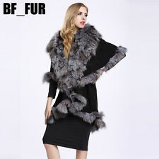 Luxury 100%Knitted Fur Poncho Wool Cape Women Real Fox Fur collar Coat New P0010