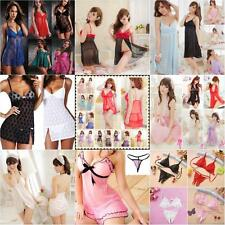 Womens Sexy Lingerie Lace T-back Dress Underwear Babydoll Sleepwear+G-string