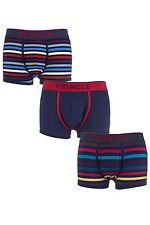 Mens 3 Pair Pringle Plain and Striped Cotton Trunks In Navy and Red