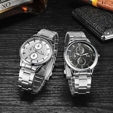 Mens Luxury Stainless Steel Band Quartz Watches Sport Analog Wrist Watch Fashion