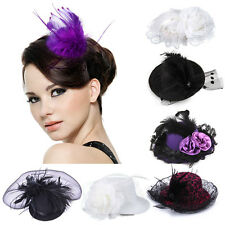 Tiara Bridal Feather Mini Top Hat Organza Mesh Hair Clip Fascinator Wedding