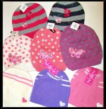 GIRLS FASHION BEANIE DIAMANTE BUTTERFLY FLOWERS or HEARTS HAT & MAGIC GLOVES SET