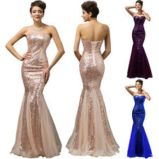 NEW Sexy Formal Prom Bridesmaid Evening Party Sequine Mermaid Long Wedding Dress