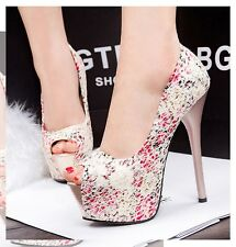 Women's Sweet Peep-toe Floral Lace Platform Stilettos Sandals High Heels Shoes
