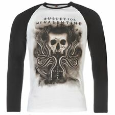 Mens T Shirt Long Sleeve Official Bullet for My Valentine Raglan Top New