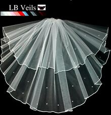 IVORY 2 TIER VEIL CRYSTAL DIAMANTE AROUND EDGE WEDDING BRIDAL ANY LENGTH UK 145