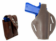 New Brown Leather Pancake Holster + Dbl Mag Pouch CZ EAA FEG Full Size 9mm 40 45