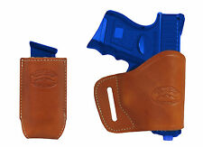 New Barsony Tan Leather Yaqui Holster + Mag Pouch Kel-Tec Sccy Kimber Comp 9mm
