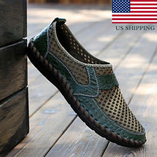 Mens Driving Slip on Loafers Leather Shoes Summer Breathable Mesh Casual Shoes