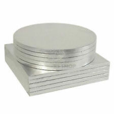 "Round Square Silver Cake Boards Cards 8"" & 10"" Inch Weddings Birthdays PMS"