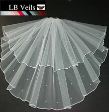 WHITE IVORY CREAM 2 TIER VEIL CRYSTAL DIAMANTE AROUND EDGE BRIDAL ANY LENGTH 145